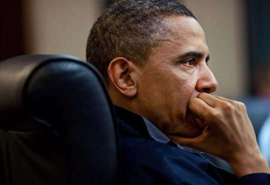 President Obama listened during a White House meeting on the bin Laden mission on Sunday.