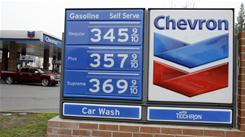 This Chevron station in Mountain View, Calif., had prices well over $3 on Jan. 28, 2011.