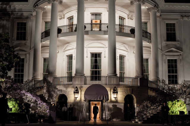 The President Seen Returning to the White House