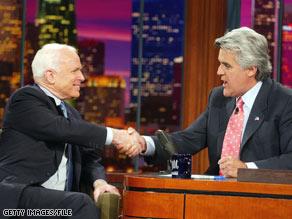 Sen. McCain will appear on Jay Leno's late night talk show next Tuesday.