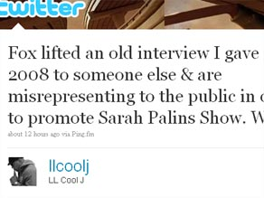 LL Cool J is taking aim at Fox and Sarah Palin.
