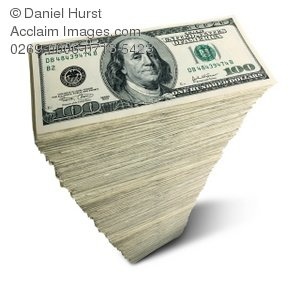 Stock Photo of Stack of 100 Dollar Bills