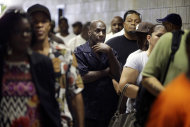 <p> FILE - In this Tuesday, Aug.21,2012 file photo, job seekers wait in line at a construction job fair in New York. U.S. employers added 96,000 jobs last month, the Labor Department said Friday, Sept.7,2012, a weak figure that could slow any momentum President Barack Obama hoped to gain from his speech to the Democratic National Convention. (AP Photo/Seth Wenig, File)