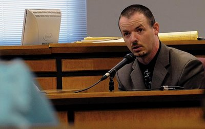 Christopher Leslie was found guilty and faces up to 50 years in prison for locking a 7-year-old relative in a wooden box. Leslie, seen here testifying on Thursday, will be sentenced on April 19. SKIP BUTLER/The Daily Tribune News