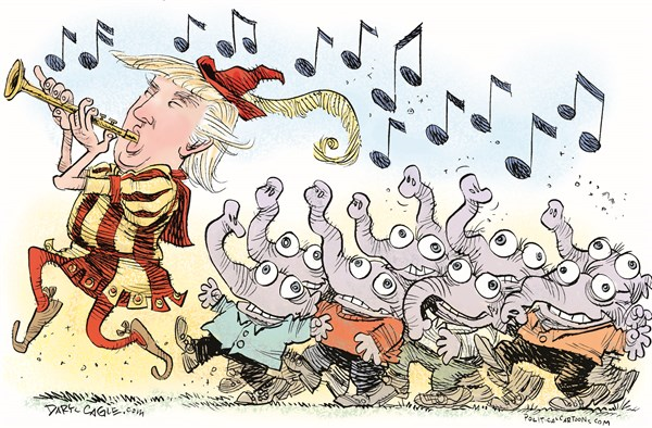 Pied Piper Trump © Daryl Cagle,CagleCartoons.com,Donald Trump,Pied Piper,elephants,Republicans,music,flute,music,notes,zombies,presidential race,election 2016