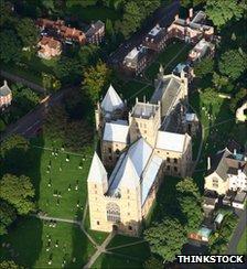 Aerial view of a church
