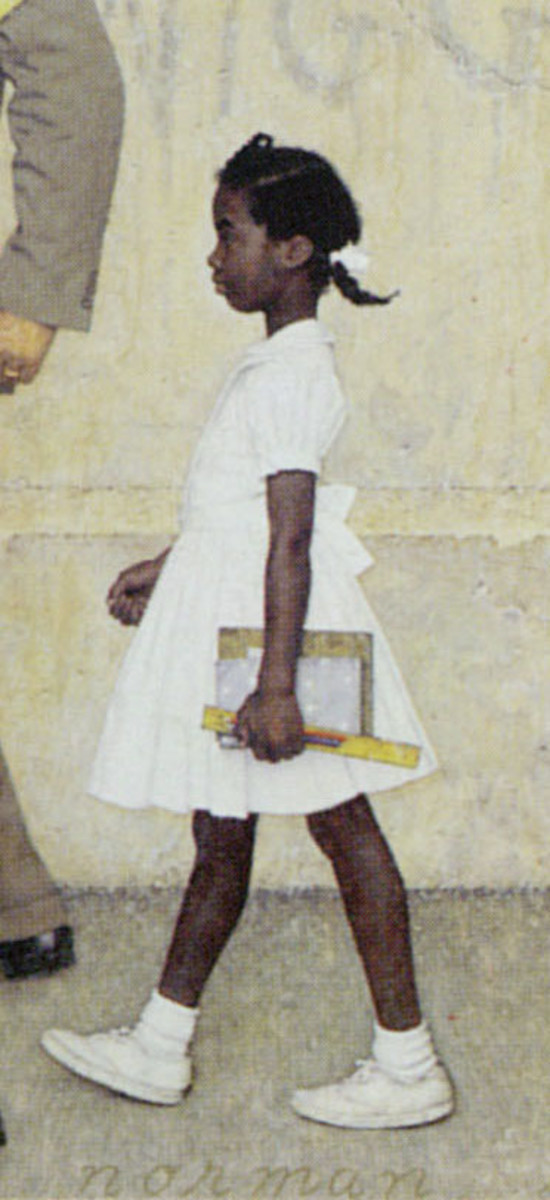 """Detail: """"The Problem We All Live With"""", 1963, Look, January 1964 Story Illustration Oil on Canvas 36 x 58 inches Collection of the Norman Rockwell Museum, Stockbridge Massachusetts"""